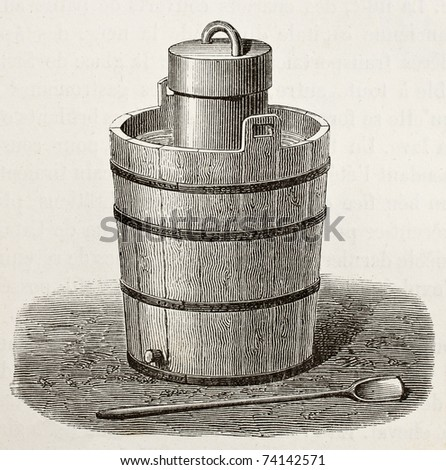 Old illustration of an antique ice cream maker. Original,  by Javandier and Laplante, was published on L'Eau, by G. Tissandier, Hachette, Paris, 1873 - stock photo