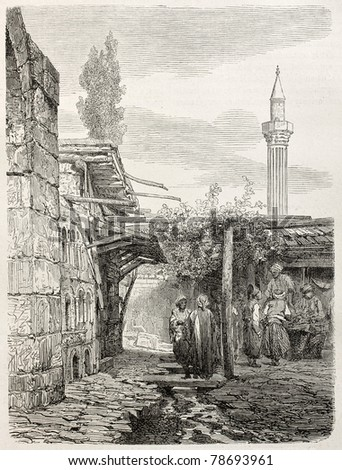 Old illustration of an house build with funeral monuments rubbles in Usak, Aegean region, Turkey. Created by Gaiaud, published on Le Tour du Monde, Paris, 1864 - stock photo