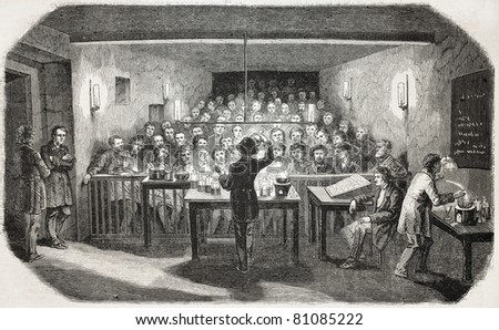 Old illustration of an industrial chemistry lesson for workers. Created by Flemeng, published on L'Illustration, Journal Universel, Paris, 1857 - stock photo