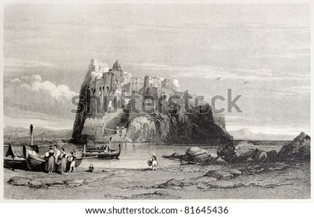 Old illustration of Aragonese castle in Ischia island, Tyrrhenian sea, near Naples, Italy. By Leitch and Sands, published on Il Mediterraneo Illustrato, Spirito Battelli ed., Florence, Italy, 1841 - stock photo