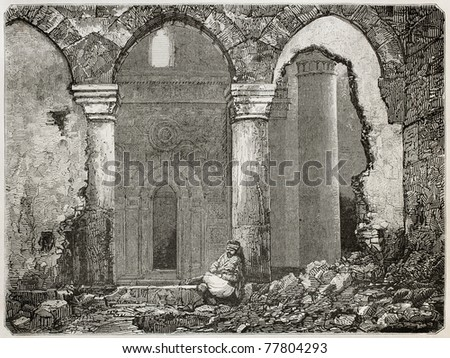 Old illustration of Ayaslug (nowadays Selcuk) mosque ruins, Turkey. Created by Gaiaud after photo of Svoboda, published on Le Tour du Monde, Paris, 1864 - stock photo