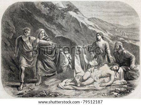 Old illustration of Barabbas at Mount Calvary foot the day after Christ torment. Created by Thomas, published on L'Illustration Journal Universel, Paris, 1857