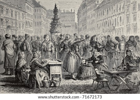 Old illustration of Brno market, Moravia, nowadays Czech Republic. Original, created by Lallemand, was published on L'Illustration, Jounrnal Universel, Paris, 1968 - stock photo