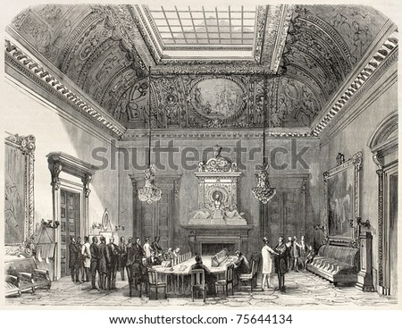 Old illustration of conference hall in the French Parliament, Paris. Created by Fichot and Cosson-Smeeton, published on L'Illustration, Journal Universel, Paris, 1868 - stock photo