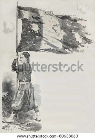 Old illustration of Corporal Lihat, Zuave in the French Army, holding flag for the Malakoff taking during Crimean war. Created by Yvon, published on L'Illustration, Journal Universel, Paris, 1857 - stock photo