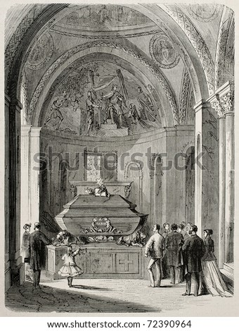 Old illustration of Daniele Mann's grave in St. Mark's basilica, venice, Italy. Original, created by Pauquet, was published on L'Illustration, Journal Universel, Paris, 1868 - stock photo