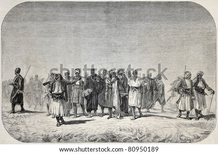Old illustration of Egyptian recruits crossing the desert. Created by Gerome, published on L'Illustration, Journal Universel, Paris, 1857 - stock photo