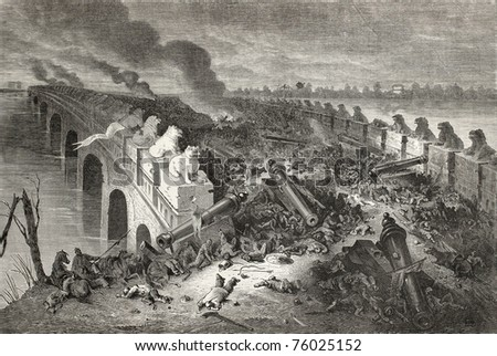 Old illustration of Eight Mile Bridge (Baliqiao) after battle between Anglo-French forces and China during second Opium war. By Bayrad after sketch of Vaumort, publ. on Le Tour du Monde, Paris, 1864. - stock photo