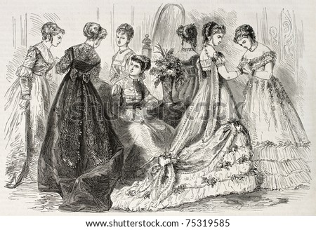 Old illustration of evening and dance wear in 1868, Paris. Created by Pauquet, published on L'Illustration, Journal Universel, Paris, 1868 - stock photo