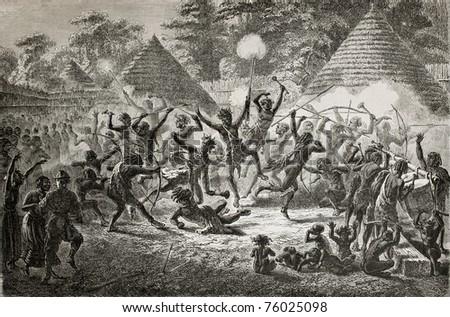 Old illustration of famous explorer James Augustus Grant taking part in a tribal dance in Ugandan village. Created by Fuchs, published on Le Tour du Monde, Paris, 1864 - stock photo