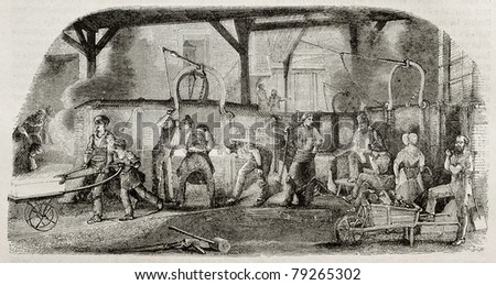 Old illustration of iron production: foundry in La Houilles, France. By unidentified author, published on Magasin Pittoresque, Paris, 1850. - stock photo