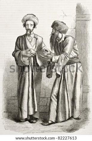 Old illustration of Jews in Jerusalem. Created by Bida and Manini, published on Le Tour du Monde, Paris, 1860 - stock photo