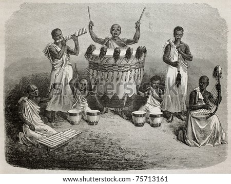 Old illustration of Karague court orchestra, lake Victoria region. Created by Bayard, and Hildebrand, published on Le Tour du Monde, Paris, 1864 - stock photo