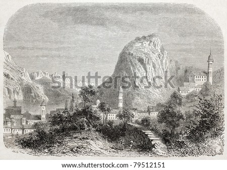 Old illustration of Lugano, the lake and Mount San Salvatore. Created by Freeman, published on L'Illustration Journal Universel, Paris, 1857 - stock photo