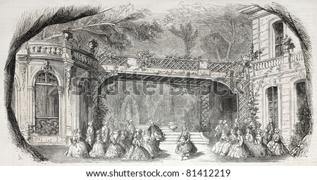 Old illustration of Margot lyric opera set and decor. 9th scene, second act. By unidentified author, published on L'Illustration, Journal Universel, Paris, 1857