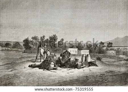 Old illustration of Moses Spring (Oyun Musa), near Suez in Sinai peninsula. Created by Pottin, published on Le Tour du Monde, Paris, 1864 - stock photo