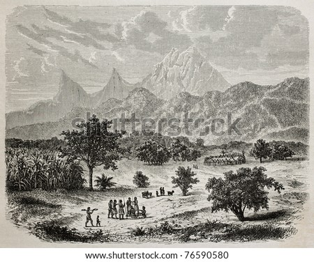 Old illustration of mountains in Zungomero west, near Mbuiga, Tanzania. Created by De Bar, published on Le Tour du Monde, Paris, 1864 - stock photo