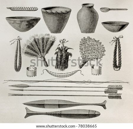 Old illustration of  natives Antis pottery, weapons and ornaments, Peru. Created by Riou, published on Le Tour du Monde, Paris, 1864 - stock photo