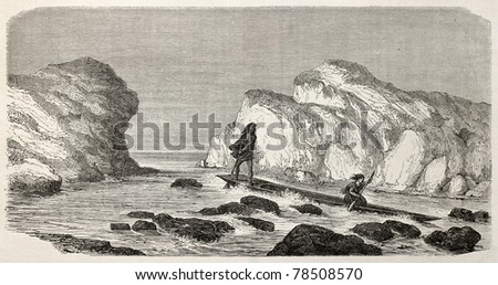 Old illustration of natives Peruvian canoeing through rapids. Created by Riou, published on Le Tour du Monde, Paris, 1864 - stock photo