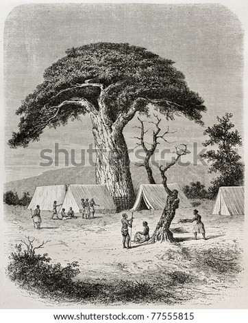 Old illustration of Ougogo encampment during Captain Speke expedition towards Nile river source, Tanzania. Created by De Bar, published on Le Tour du Monde, Paris, 1864 - stock photo