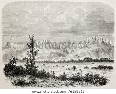 Old illustration of Outhoungu valley, southern Sudan. Created by De Bar, published on Le Tour du Monde, Paris, 1864 - stock photo