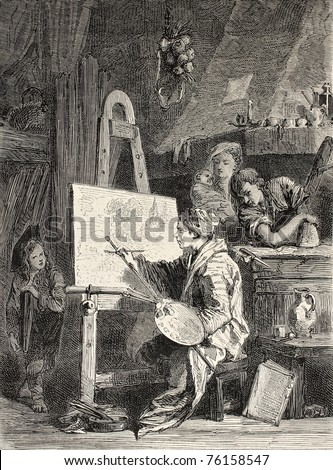 Old illustration of painter workshop. Engraved by Dutheil-Ecosse, after tablet of Boucher in Khalil-Bey gallery. Published on L'Illustration, Journal Universel, Paris, 1868 - stock photo