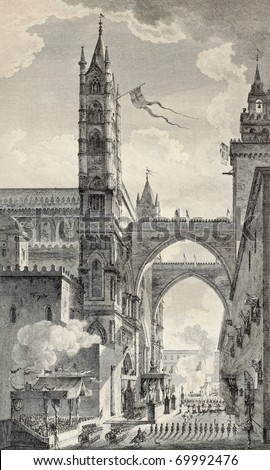 Old illustration of Palermo cathedral arches. By Desprez e Quaurovilliers, published on Voyage Pittoresque de Naples et de Sicilie,  J. C. R. de Saint Non, Imprimerie de Clousier, Paris, 1786 - stock photo