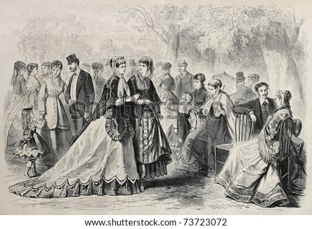 Old illustration of springtime fashion 1868 in Paris. Original, created by Pauquet, was published on L'Illustration, Journal Universel, Paris, 1868 - stock photo