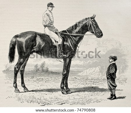 Old illustration of Suzerain, winner of  the Prix du Jockey Club (Derby) in 1868. Created by Janet-Lange and Dutheil, published on L'Illustration, Journal Universel, Paris, 1868 - stock photo