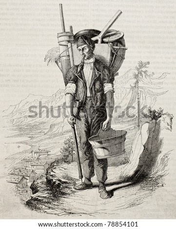 Old illustration of Swiss Cheese maker of Brienz lake, in the Bernese Oberland. Create by Vapin, published on Magasin Pittoresque, Paris, 1850 - stock photo