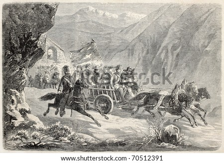 Old illustration of Swiss Guards recruits in Tyrol, traveling toward Rome. Original, from drawing of Jundt, was published on L'Illustration, Journal Universel, Paris, 1860