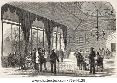 Old illustration of the French Parliament's buvette , Paris. Created by Blanchard, published on L'Illustration, Journal Universel, Paris, 1868 - stock photo