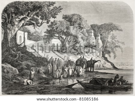 Old illustration of traditional Ganges ablutions in India. Created by Anastasi after sketch of De Berard, published on L'Illustration, Journal Universel, Paris, 1857 - stock photo