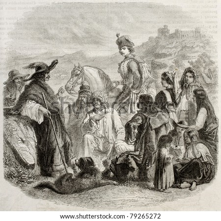 Old illustration of traditional Hungarian costumes. Created by Valentin (Best, Hotelin, Reigner sculp.), published on Magasin Pittoresque, Paris, 1850 - stock photo