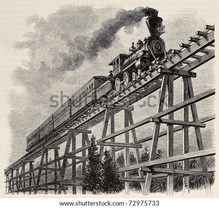 Old illustration of train crossing wooden trestle bridge along Union Pacific railroad. Original, created by Blanchard, was published on L'Illustration, Journal Universel, Paris, 1868 - stock photo