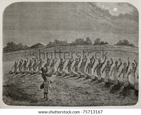 Old illustration of tribal drummers greeting new moon in Victoria lake region. Created by Bayard, Gauchard and Bruno, published on Le Tour du Monde, Paris, 1864 - stock photo