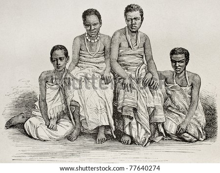 Old illustration of Ugandan women. By unidentified author after photo of Royer, published on Le Tour du Monde, Paris, 1864