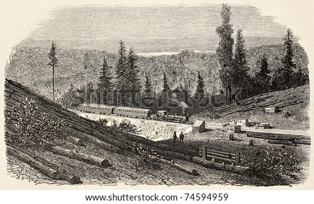 Old illustration of Union Pacific Railroad across Bear valley, California, USA. Created by Blanchard, published on L'Illustration, Journal Universel, Paris, 1868 - stock photo