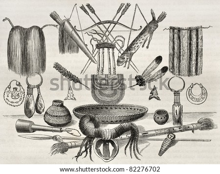 Old illustration of weapons, ornaments and utensils of Mohaves, Yampays and Chimehwhuebes people. Created by Lancelot , Published on Le Tour du Monde, Paris, 1860 - stock photo