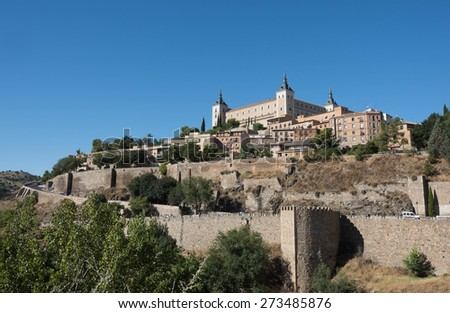 Old Imperial City of Toledo with Alcazar. Spain - stock photo