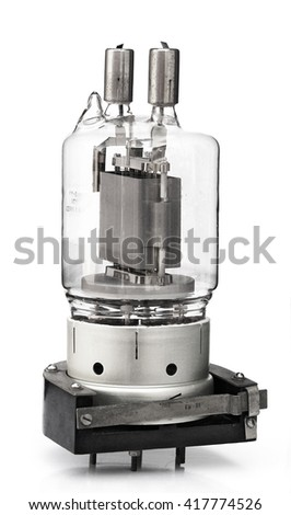 old incandescent lamp, vintage lamp generator isolated on white with clipping path rarity - stock photo