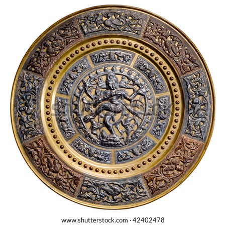 old Indian plate with the image of dancing Shiva - stock photo
