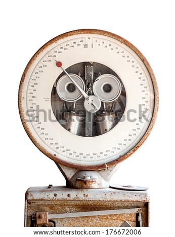 Old industrial balance scale back-round - stock photo