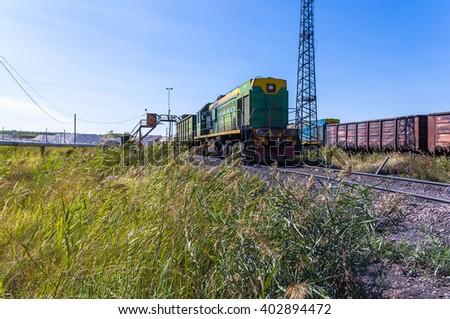 old industrial railway junction on a summer afternoon - stock photo