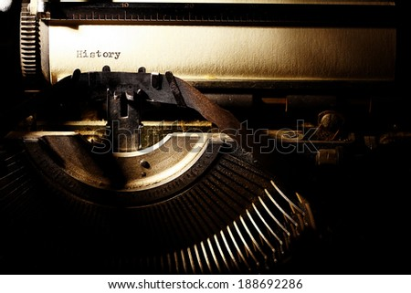 old inscription on a typewriter - stock photo