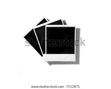Old instant photo Film Blanks on White Background - stock photo