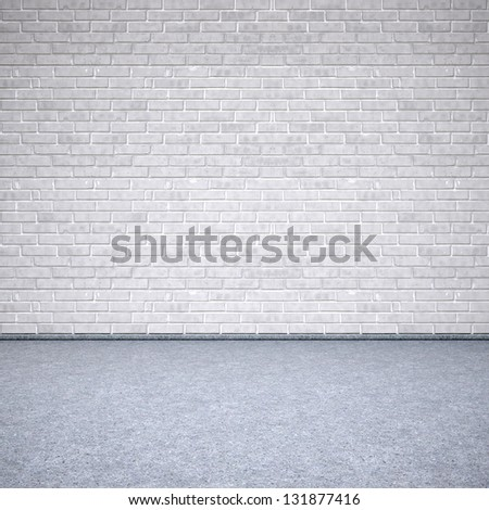 old interior with brick wall. 3d image. - stock photo