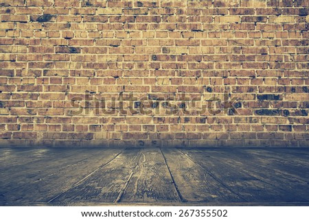 old interior with brick wall, vintage background, retro filtered, instagram style - stock photo