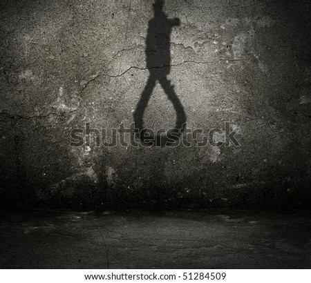 old interior with shadow of noose - stock photo