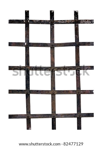 Old iron bars - prison, security, isolated over white
